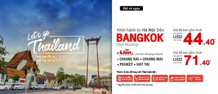 Thai Lion Air khuyến mãi giá vé chỉ từ 44 USD đi Bangkok