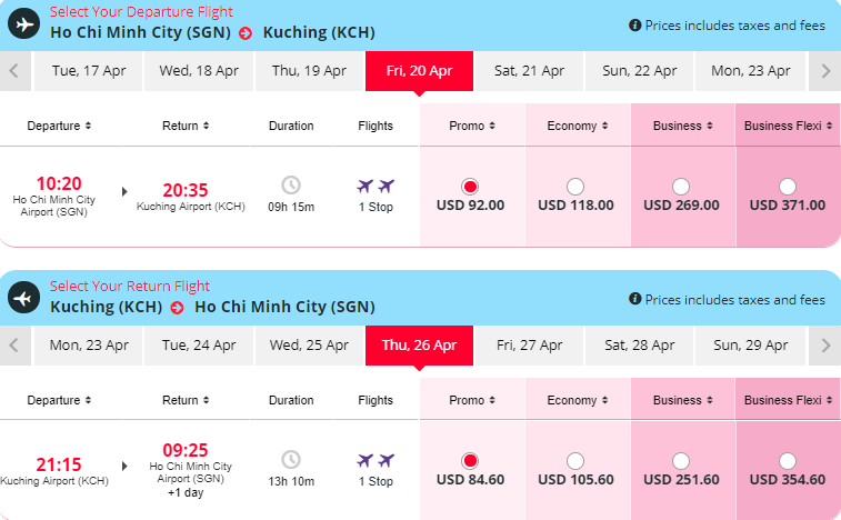 vé máy bay TP HCM đi Kuching