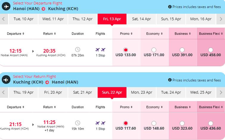 vé máy bay Hà Nội đi Kuching