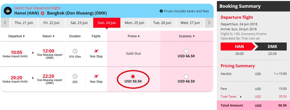 Vé khuyến mại hành trình Hà Nội - Bangkok