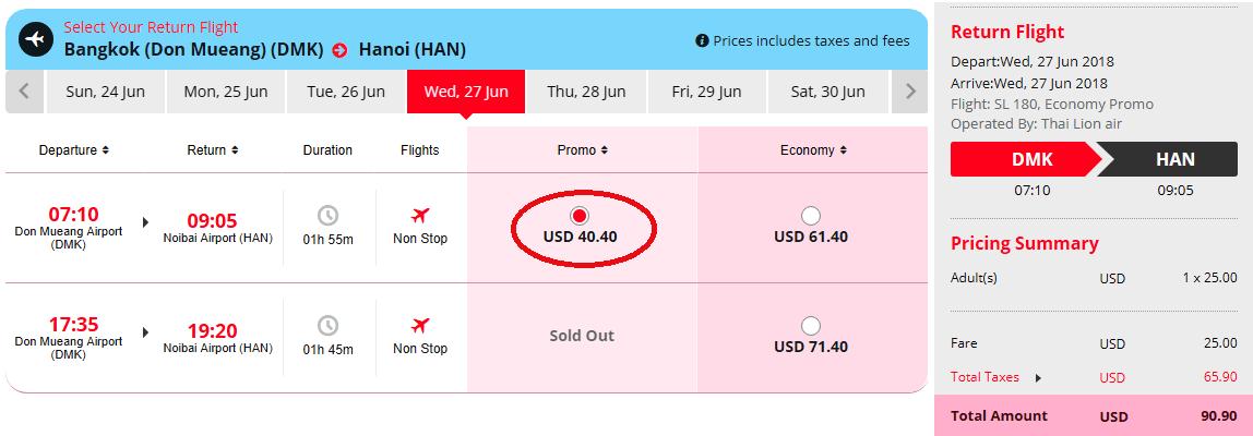 Vé khuyến mại hành trình Bangkok - Hà Nội