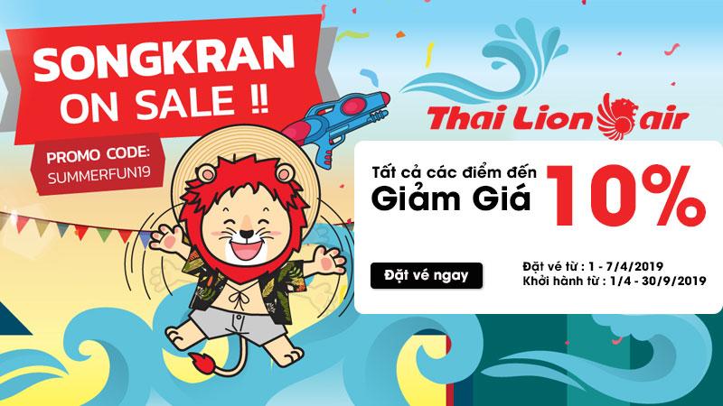 Khuyến mãi 10% giá vé máy bay Thai Lion Air